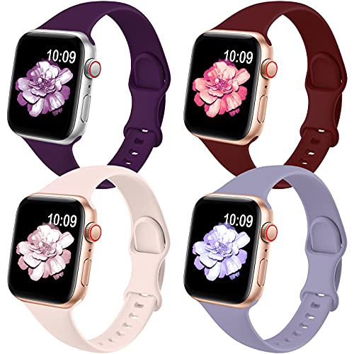 4 Pack Slim Bands Compatible for Apple Watch Band 38mm 42mm 40mm 44mm Women Men, Soft Silicone Thin Narrow Replacement Strap for iWatch Series 6/5/4/3/2/1/SE