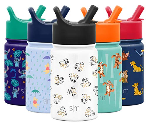 Simple Modern Disney Water Bottle for Kids Reusable Cup with Straw Sippy Lid Insulated Stainless Steel Thermos Tumbler for Toddlers Girls Boys, 10oz, Minnie Mouse Dots