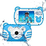 QINGTIAN Fotocamera Digitale Impermeabile per Bambini,Videocamera Subacquea per Bambini CamKing HD...
