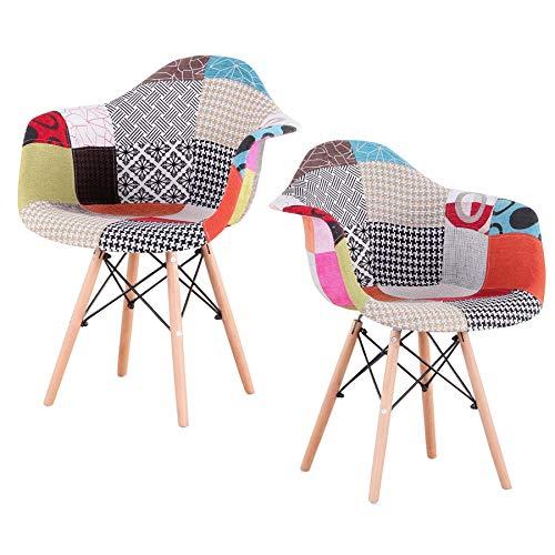 Uderkiny Set di 2/4 sedie sedie Patchwork con braccioli, Adatto per Cucina Soggiorno Sala da Pranzo Camera da Letto, ECC. (Rosso-2)