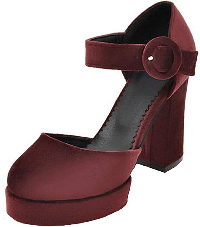 Ghapwe Women's Stylish Buckle Strap OL Work shoes Round Toe High Block Heel Platform Sandals Green 7 M US