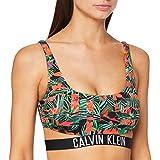 Calvin Klein Strap Bralette-RP-Print Reggiseno Bikini, Multicolore (Geo Tropic Intense Power 010), 44 (Taglia Produttore: Medium) Donna