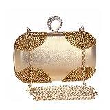 ClearloveWL Diamantes de metal anillo de dedo para mujer, bolsas de noche de cristal, boda, regalo de novia, bolso de fiesta, día de la fiesta (color: dorado)