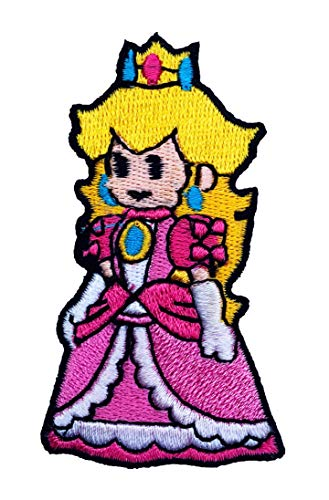 Prinzessin Peach Patch Embroidered Iron on Badge Aufnäher Kostüm Fancy Kleid Kart/SNES Mario World/Super Mario Brothers/Mario Allstars Cosplay