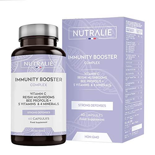 Immunity Booster Multivitaminas y Minerales Concentrado | Potenciador Sistema Inmunitario y Defensas con Vitamina C, Zinc, Hierro + Vitaminas y Minerales | 60 Cápsulas Nutralie, 42 gr