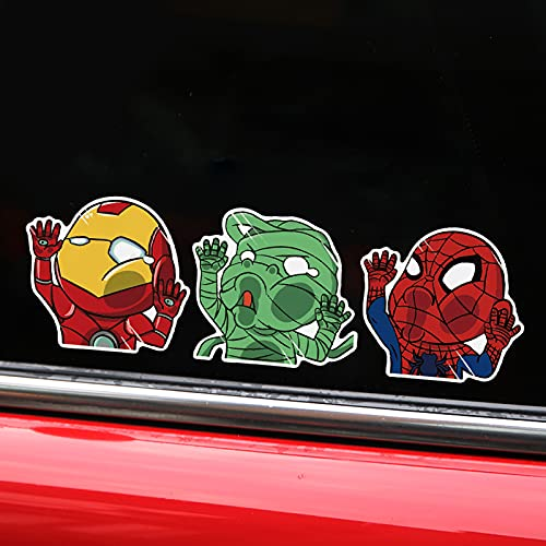 LVLUO Pega de Personalidad Reflectante de Coche Iron Man Spider-Man Pegatina de Vidrio Tarjeta Pegatina de Ventana de tráfico
