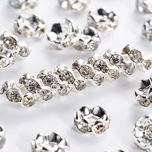 PandaHall 200 cuentas espaciadoras Rondelle de diamantes de imitación de 6 mm...