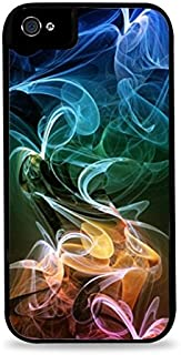 Rainbow Smoke Vapor Art Black 2-in-1 Protective Case with Silicone Insert for Apple iPhone 4 / 4S