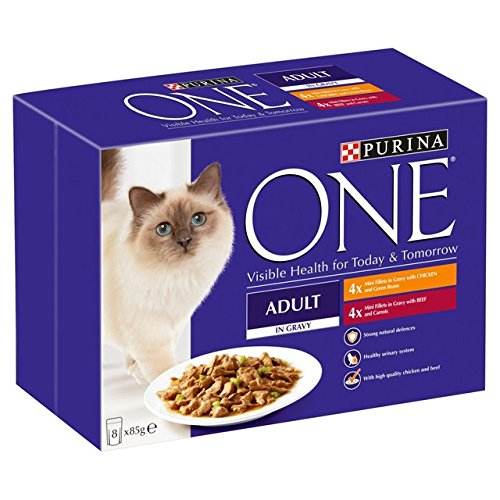 Purina One Adult Fleisch mit Chicken & Beef Pouch 8 x 85g