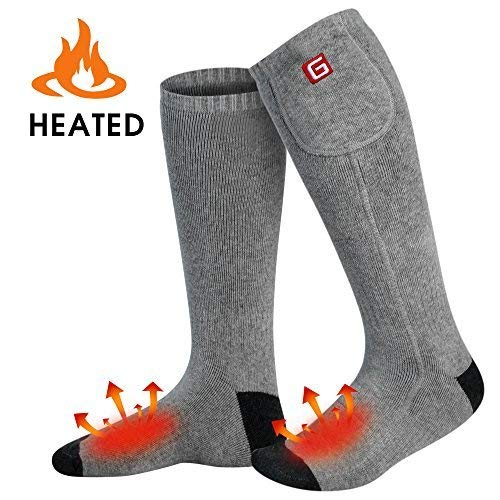 GLOBAL VASION Rechargeable Battery Heated Socks Kit for Chronically Cold Feet for Women and Men (Grey)