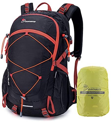 MOUNTAINTOP Mochilas Senderismo 40 litros, Portátil Mochila Trekking Impermeable, Mochilas de Montaña Hombre Mujer para Viajes Acampadas al Aire Libre (Negro)