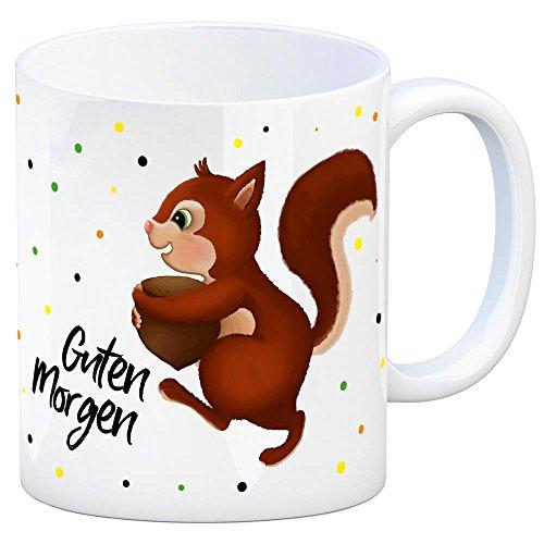 trendaffe - Kaffeebecher mit Eichhörnchen Motiv und Spruch: Guten Morgen