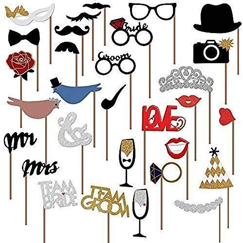 PuTwo Photo Booth Props, 31 stks gemonteerd bruiloft Photo Booth Props, Photobooth Props Pack van snor, hoeden, bril, mond, kroon, ring, Mr Mrs, Love Bird voor bruiloft, Bruidsdouche, Valentijnsdag