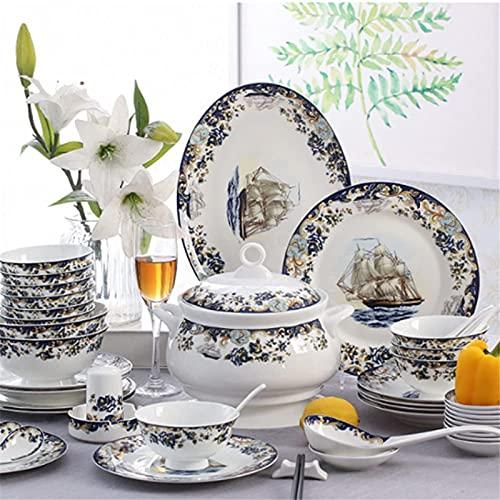 Juego de Platos, 58 PCS Conjuntos de vajilla, vajilla de porcelana de China de hueso Conjunto de platos y platos, patrón de velero Conjunto de cena de cerámica para cocina y comedor, caja fuerte de mi