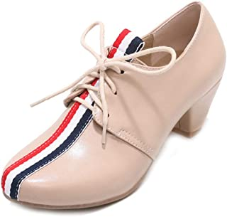 Oxford Pumps for Womens, Lace Up Round Toe Chunky Mid Block Heels Casual Dress Oxford Loafers Shoes