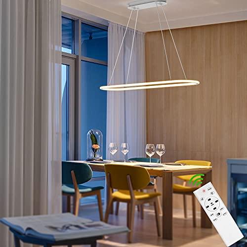 Anten Lampara Colgante LED CUPID | Regulable con mando a distancia 4500lm temperatura de color 3000-6000K | Función de memoria Moderna | Lámpara de techo para Cocina Comedor Oficina 91,5x22,5cm blanca