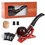 Joyoldelf Tobacco Pipe, Classic Smoking Pipe with Foldable Pipe Stand Holder, Cork Knocker, Pipe Bits & Pipe Screens