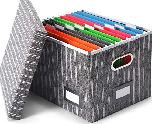 Collapsible File Storage Organizer Box - Portable Home Office Filling Cabinet for Documents and Hanging File Folders Organization by Trizo