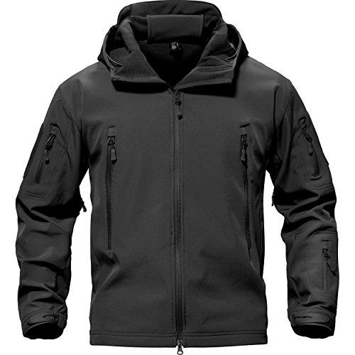 TACVASEN メンズ コート アウター ジャケット ミリタリー フード付 多機能 ジャンパー 裏起毛 パーカー 軽暖 秋冬用 ブラック M