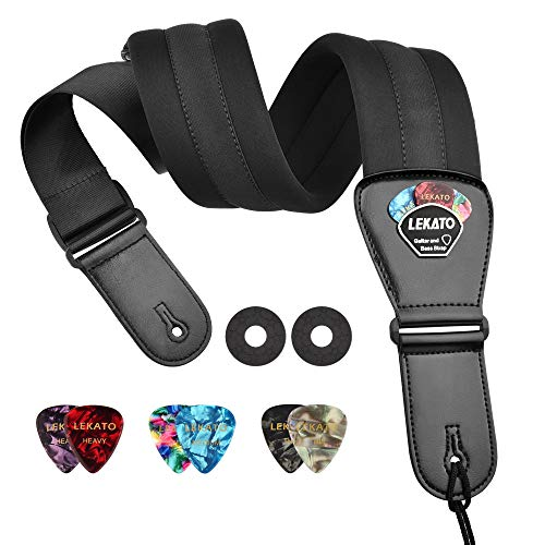 """LEKATO Guitar Strap for Bass & Electric Guitar 3"""" Wide and Adjustable Length from 45"""" to 59"""" with Pick Holders 2 Safety Strap Lock and 6 Picks"""