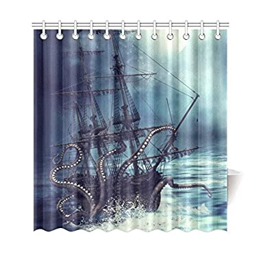 InterestPrint Pirate Ship Octopus Custom Shower Curtain 69 X 72 Inches Waterproof Polyester Fabric Bathroom Sets Home Decor