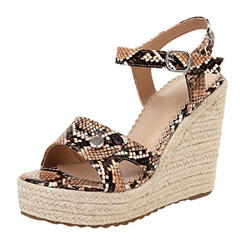 Fantastic Deal! KCPer Womens Wedge Espadrilles Jute Rope Trim Ankle Strap Open Toe Sandals Snakeskin...