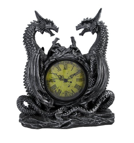 DWK 'Dragonstar' Decorative Twin Dragons Clock   Medevial Vintage Decor for your Home   Gothic Home Decor   Bookshelf Decorations   Statues and Figurines - 11'
