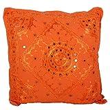 Casa Moro, cuscino con paillettes Yuva, arancione, 40 x 40 cm, in 100% cotone con imbottit...