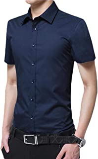 Men Short-Sleeve Solid Shirt Business Casual Button Down Shirts