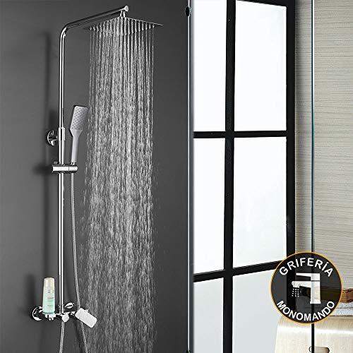 Conjunto de ducha monomando dual QUAD. 3 vías de salida: maneral CUADRADO, rociador CUADRADO y grifo de bañera. Incluye columna de ducha con tubo regulable.