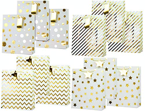 UNIQOOO Gold Metallic Christmas Gift Bags Bulk, Polkadots Stars w/Gift Tag for Thanksgiving Holiday Presents Wrapping Stocking Stuffers New Year Party Favor Celebration,Large 12½ x10½x4 Inch