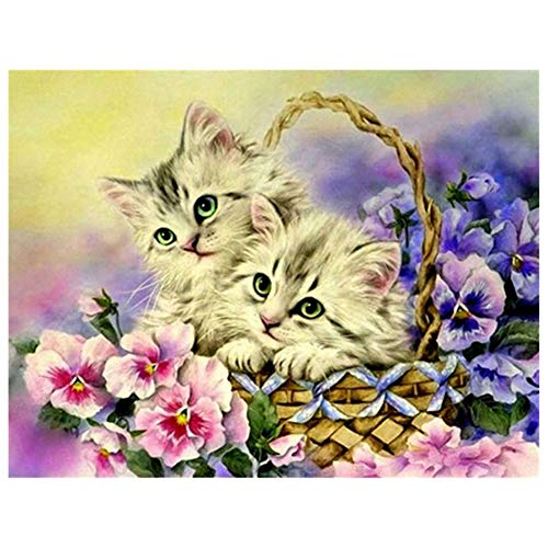5D DIY Diamond Painting by Number Kit Cute Cat Square Drill,120x90cm Adults and Kids Full Drill Beads Crystal Rhinestone Embroidery Cross Stitch Picture Supplies Arts Craft for Home Wall Decor U4174