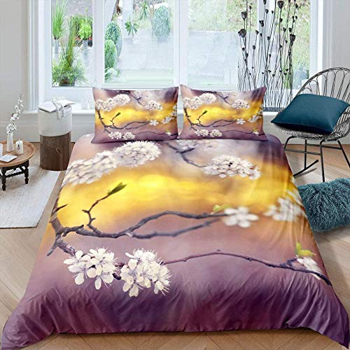 Rvvaceo Quilt Case Bedding Bedroom Daybed 3 Pcs With Pillow Case Bedding Set, Non-Iron With Zipper Hypoallergenic & Breathable Quilt Cover Set-Super King (260 X 230 Cm) Plant Peach Flower Branch Natu