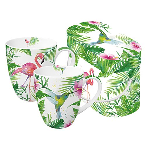 PPD Tropical Henkelbecher, 2er Set, Kaffeetasse, Kaffee Becher, New Bone China, Weiß / Grün / Pink, 350 ml, 603266