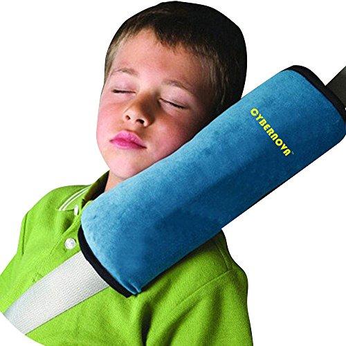 CYBERNOVA arresto per cintura auto, ideale come cuscino supporto per la testa,sicurezza in auto per bambini cuscino spalla cuscino cintura(blu)