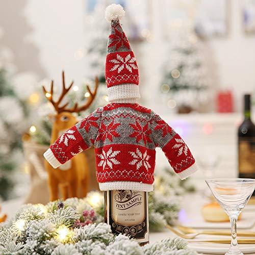 LYFWL Kerstdecoratie Creatieve Breien Rode Fles Sets Versierd Hotel Restaurant Supermarkt Wijn Champagne Fles Cover Tao Hong Grijs Sneeuwvlok Hoed 15 * 7Cm Kleding 15 * 29Cm