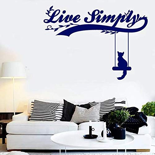 Live Simply Vinyl Wall Decal Window Sticker Word and Quote Like Cat on a Swing Art Mural Bedroom Living Room Home Decor 42x58cm