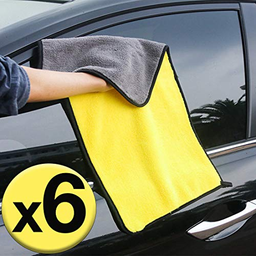 GreatCool Car 24'' x 12'' Large Microfiber Cleaning Cloth Drying Towel Scratch-Free Lint Free Auto Wash Detailing Wax Foam Mitt for Cars, SUVs, RVs, Trucks, Boats and Home Polishing Washing - 6 Pack