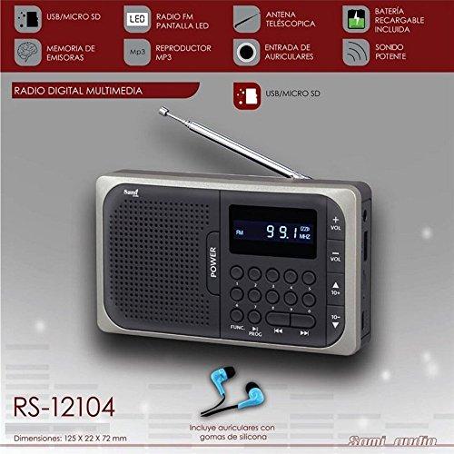 Radio Digital Multimedia - USB Micro SD 40 Memorias FM - con Batería Recargable