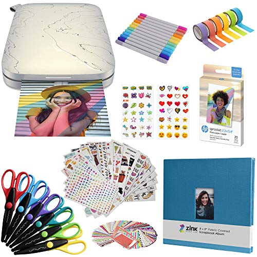 HP Sprocket Select Portable Instant Photo Printer for Android and iOS Devices (Eclipse) Fun Scrapbook Bundle