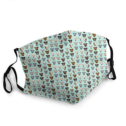 Gafas de uso para perros de raza múltiple M-A-S-Ks para adultos impresas antipolvo, lavables reutilizables, bucles ajustables para las orejas. Bolsillo para filtro