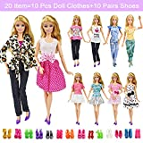 20 Items 10 Pcs Fashion Handmade Doll Clothes Set Outfits Party Dress and 10 Pairs Doll Shoes Different Doll Accessories
