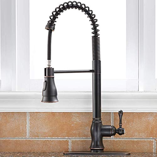 SHACO Antique Single Handle Pull Down Sprayer Oil Rubbed Bronze Kitchen Faucet, Kitchen Faucet Bronze With Deck Plate