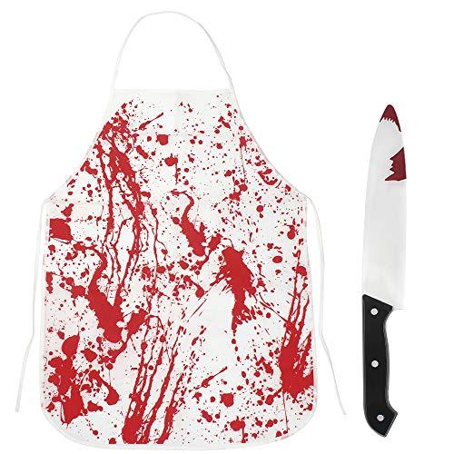 1pcs Halloween Sangre Disfraz de Horror y 1pcs Falso Cuchillo con Sangre, Disfraz de Zombie Delantales Halloween para Decoración Halloween Fiesta de Terror Zombie