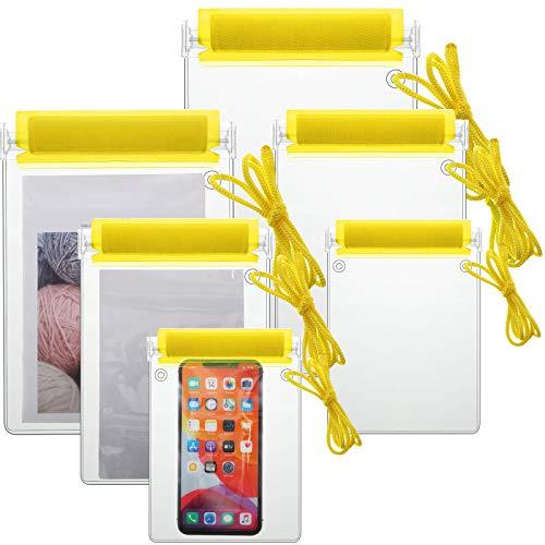 Shappy 6 Piezas Bolsas Impermeable Transparente Bolsas de Documentos Fundas Estancas de Teléfono para Cámara Llaves Mapas Playa Kayac Viajar Acampar Senderismo (Amarillo)