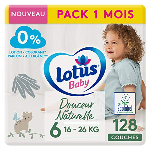 LOTUS BABY Douceur Naturelle - Couches Taille 6 (16-26 kg) Pack 1 mois - 128 couches