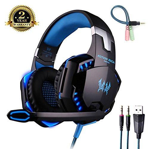 Cuffia Gaming con Microfono [ LED Luce ] Regolatore di Volume Cuffie da Gioco con Stereo Bass Gaming Headset per PS4 PC Xbox One S Nintendo