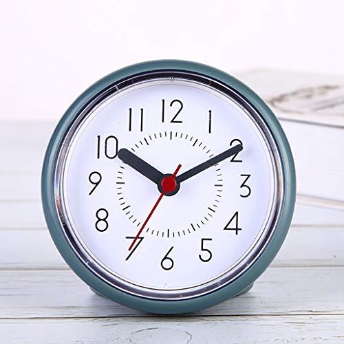 GYL Ventosa Impermeable Redondo Reloj de Pared decoración antivaho Impermeable Mudo para baño Cocina Sala de Estar Dormitorio (Color Azul Tinta)