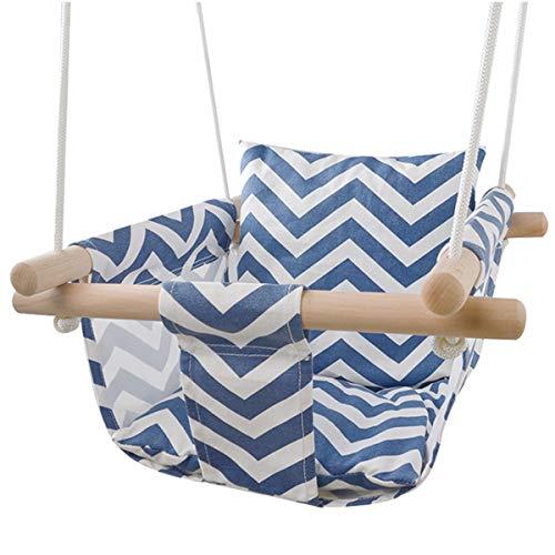 YMFZYM Asiento de Lona para Columpio para bebés, Silla Plegable para Colgar de Forma Segura para Interiores y Exteriores con cojín de algodón y Marco de Madera