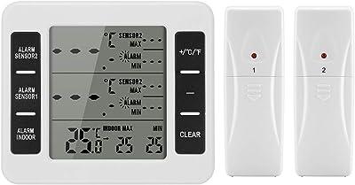 ONEVER Termómetro de alarma de alarma audible digital digital con ...